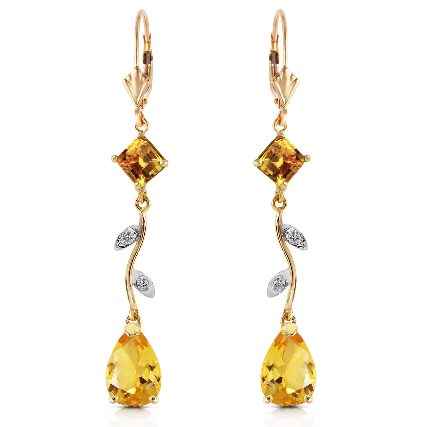 Citrine and Diamond Vine Branch Drop Earrings 3.95ctw in 9ct Gold