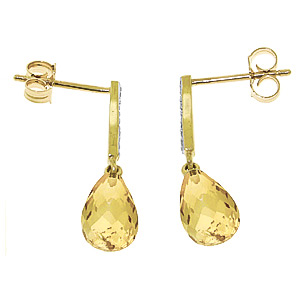 Citrine and Diamond Droplet Earrings 4.5ctw in 9ct Gold