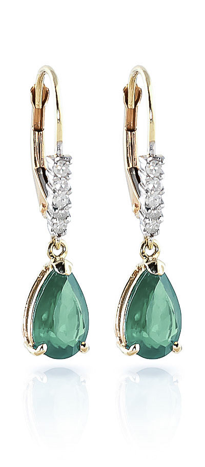 Emerald and Diamond Belle Drop Earrings 2.0ctw in 9ct Gold