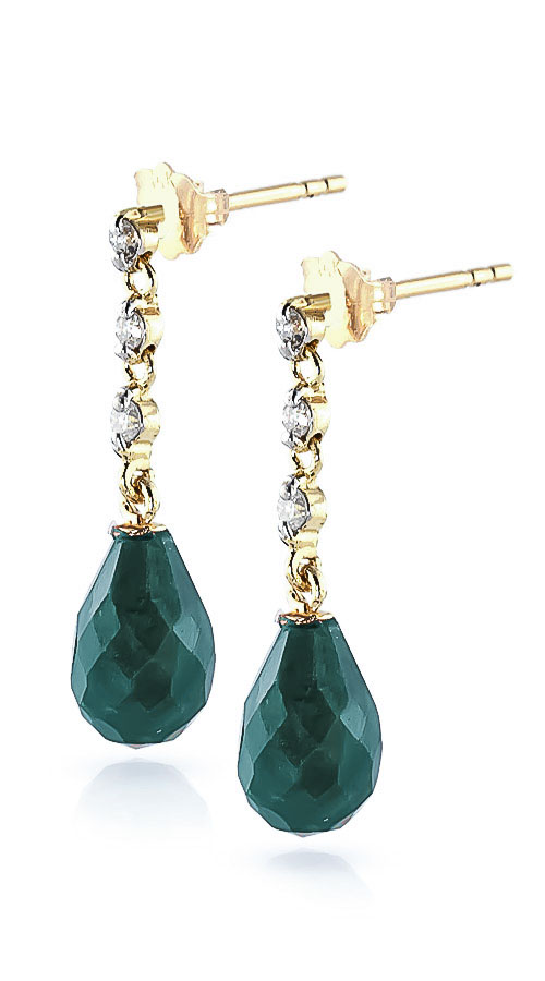 Emerald and Diamond Chain Droplet Earrings 6.6ctw in 9ct Gold