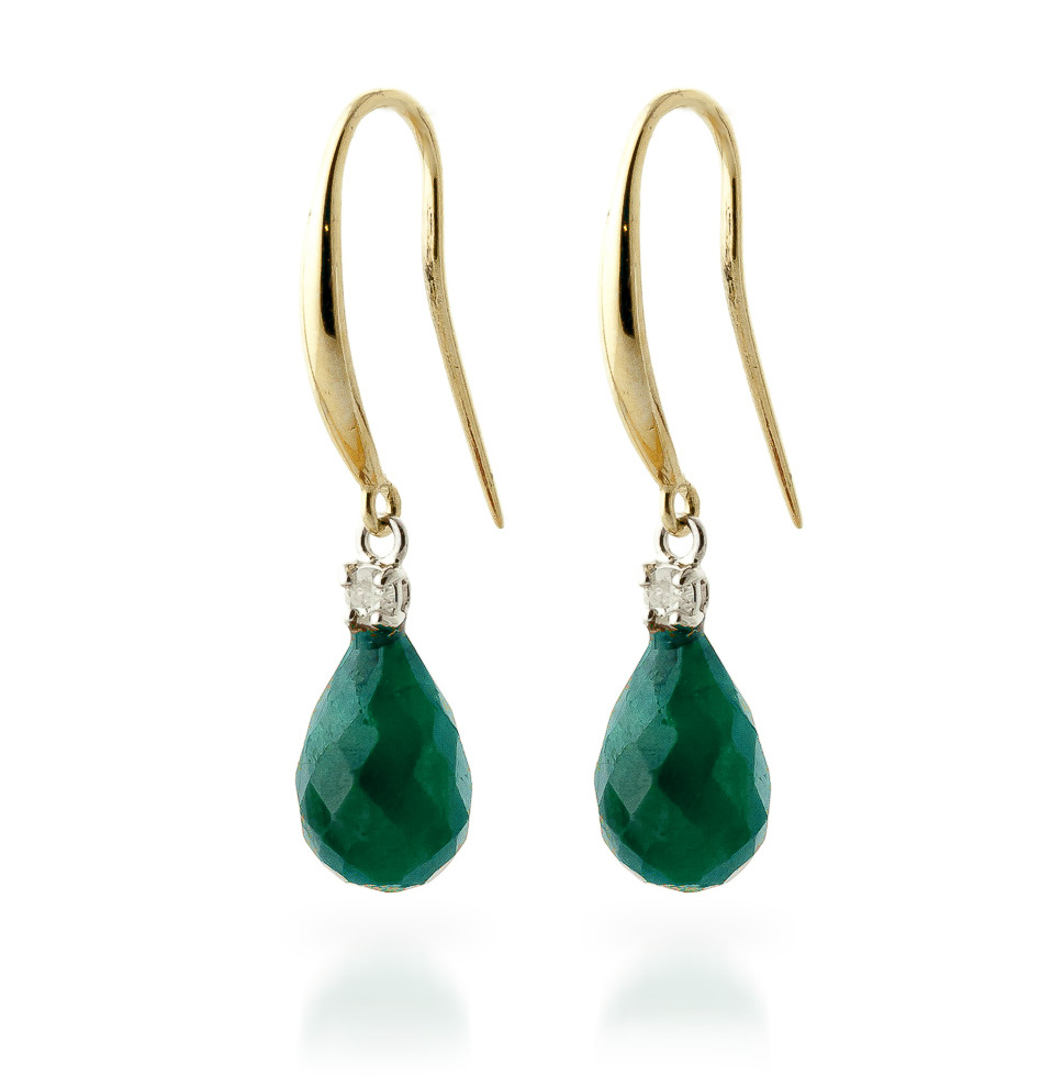 Emerald and Diamond Drop Earrings 6.6ctw in 14K Gold
