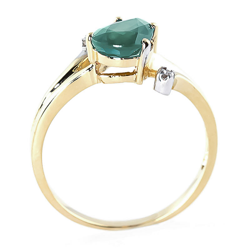 Emerald and Diamond Flank Ring 1.0ct in 9ct Gold