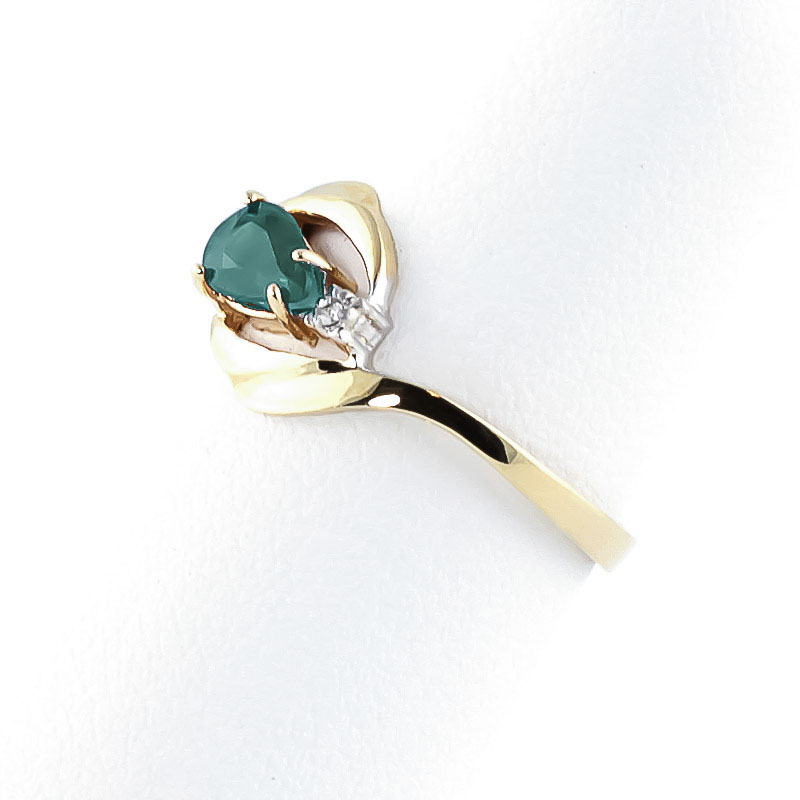 Emerald and Diamond Flare Ring 0.5ct in 9ct Gold