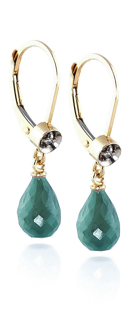 Emerald and Diamond Illusion Drop Earrings 6.6ctw in 9ct Gold