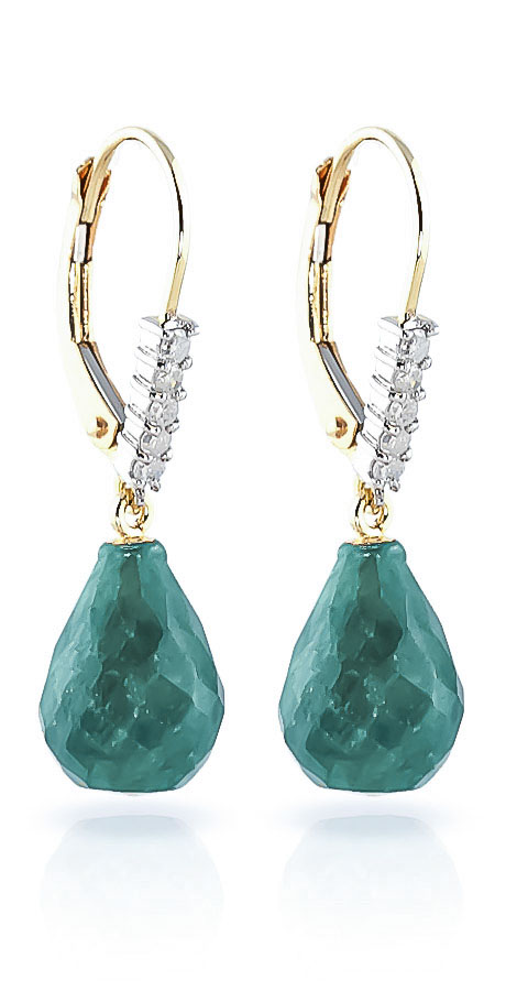 Emerald and Diamond Stem Drop Earrings 8.8ctw in 9ct Gold