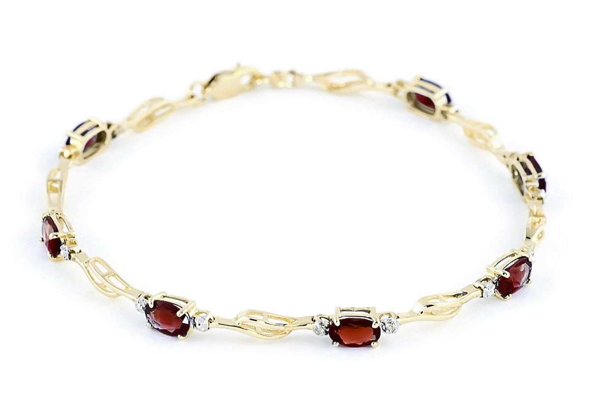Garnet and Diamond Classic Tennis Bracelet 3.38ctw in 9ct Gold