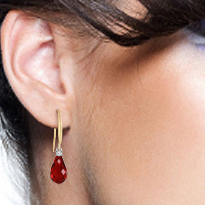 Garnet and Diamond Drop Earrings 4.5ctw in 14K Gold