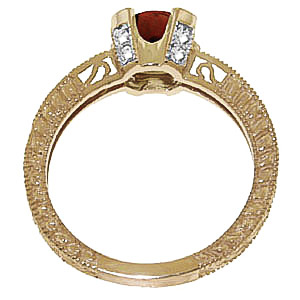 Garnet and Diamond Renaissance Ring 1.5ct in 14K Gold