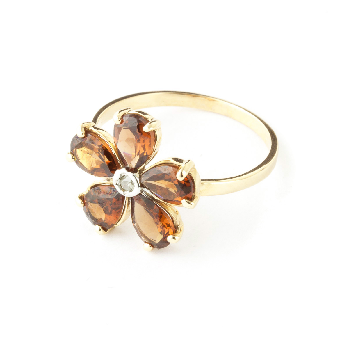 Garnet and Diamond Five Petal Ring 2.2ctw in 9ct Gold