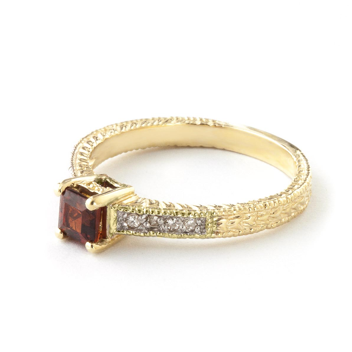 Garnet and Diamond Shoulder Set Ring 0.5ct in 9ct Gold