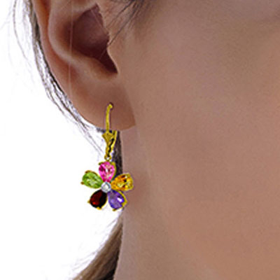 Gemstone and Diamond Flower Petal Drop Earrings 4.4ctw in 14K Gold