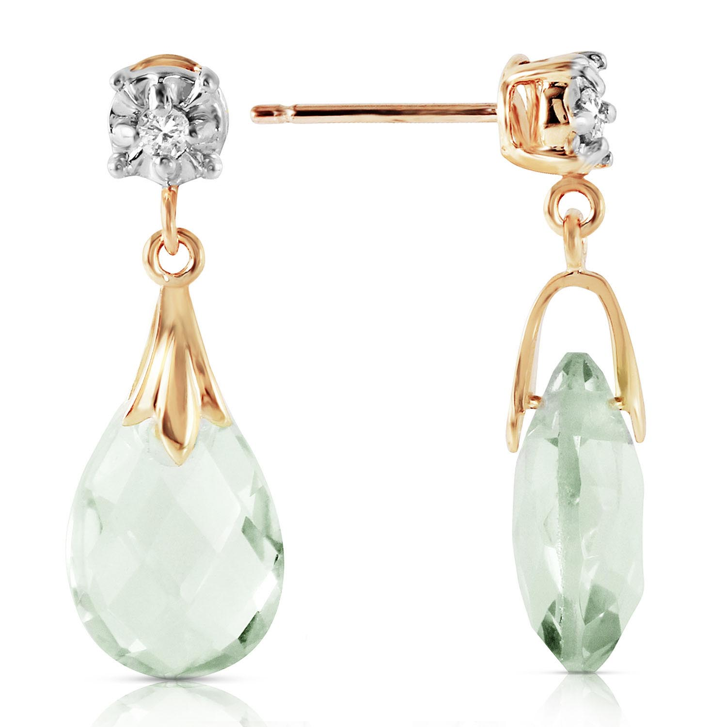 Green Amethyst and Diamond Comet Stud Earrings 6.0ctw in 9ct Gold