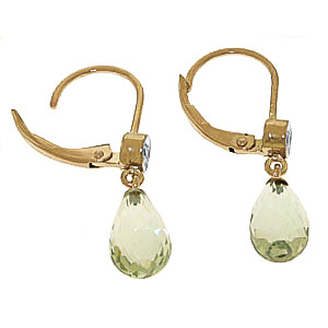 Green Amethyst and Diamond Illusion Drop Earrings 4.5ctw in 9ct Gold