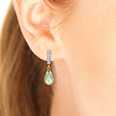 Green Amethyst and Diamond Stem Droplet Earrings 4.5ctw in 14K Gold