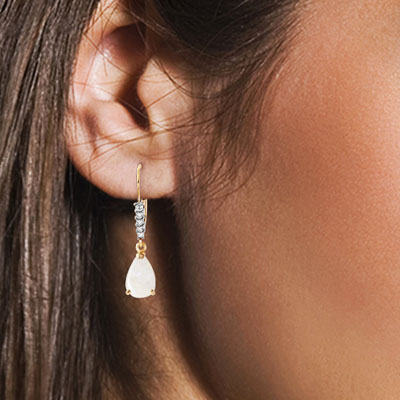 Opal and Diamond Belle Drop Earrings 1.55ctw in 14K Gold