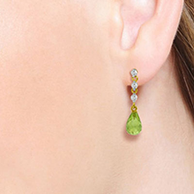 Peridot and Diamond Chain Droplet Earrings 3.0ctw in 14K Gold