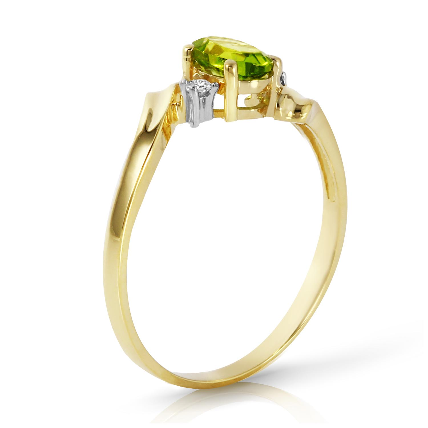 Peridot and Diamond Embrace Ring 0.45ct in 14K Gold