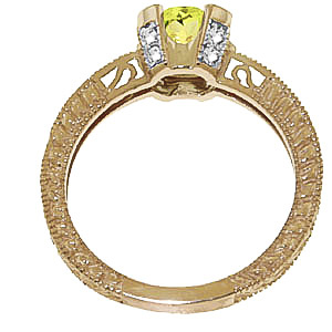 Peridot and Diamond Renaissance Ring 1.5ct in 14K Gold
