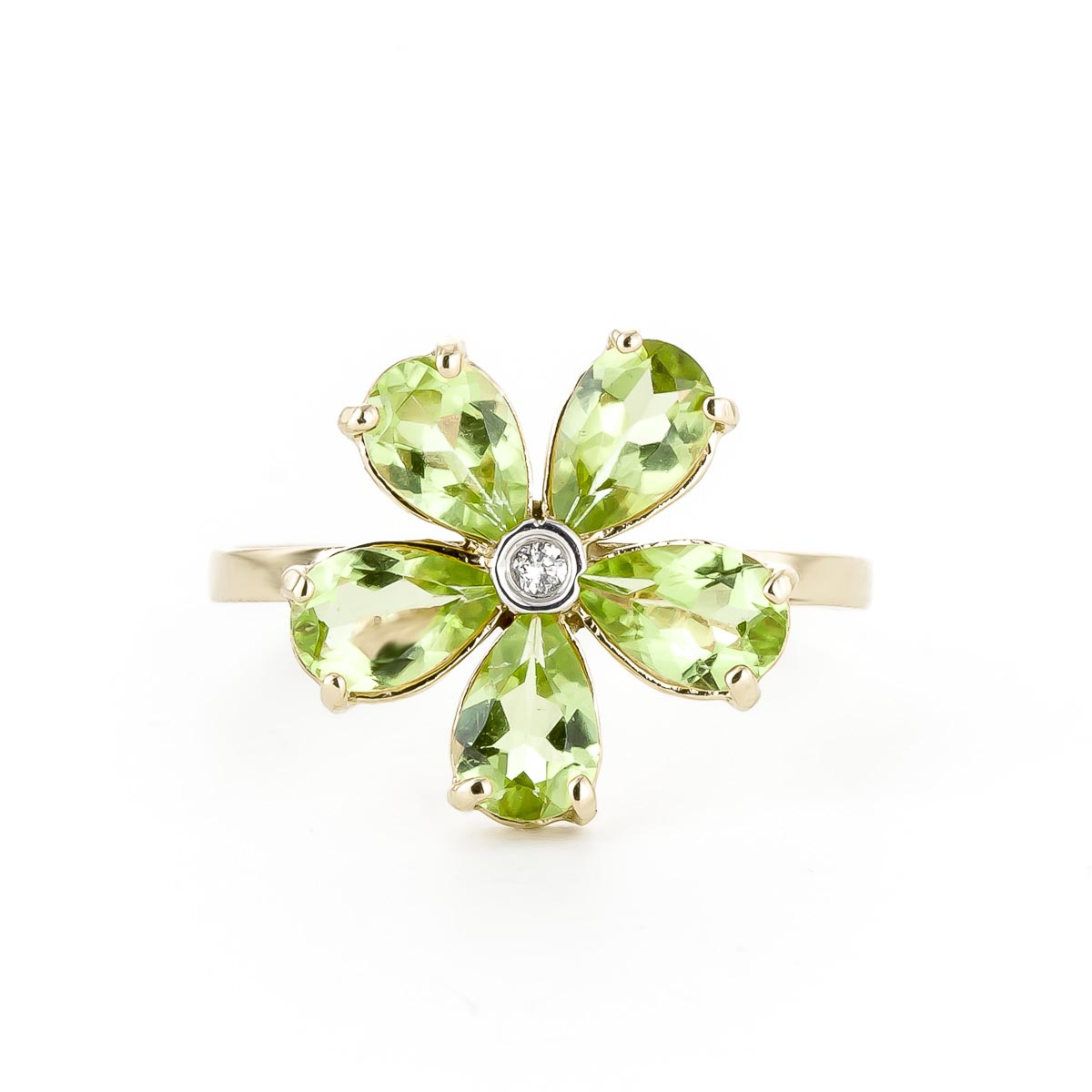 Peridot and Diamond Five Petal Ring 2.2ctw in 9ct Gold