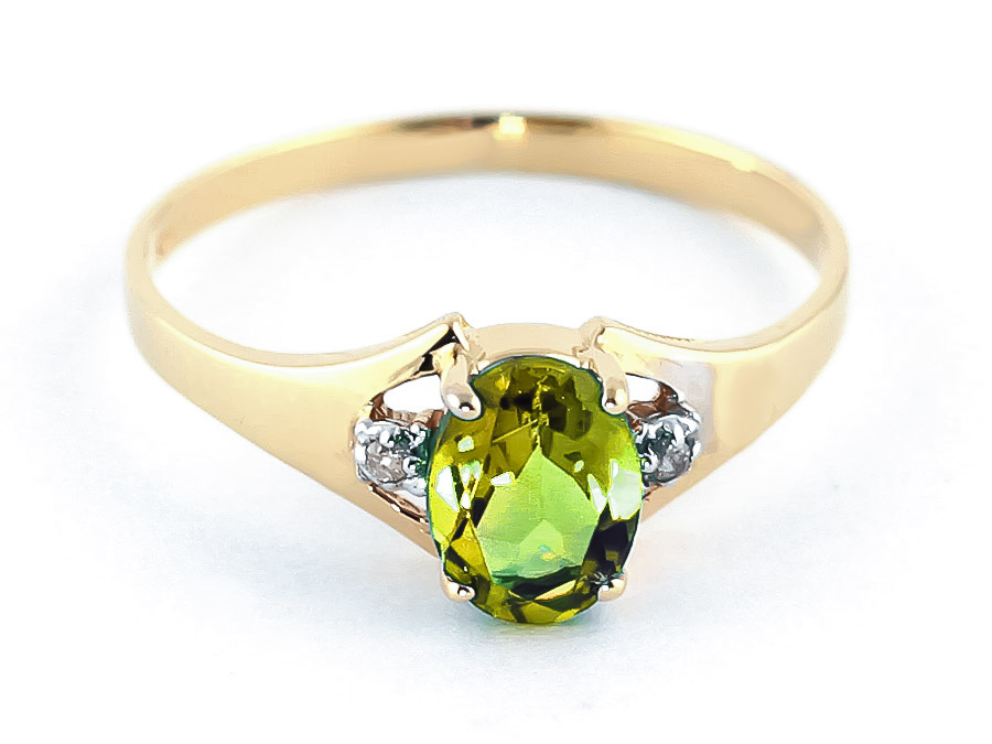 Peridot and Diamond Desire Ring 0.75ct in 9ct Gold