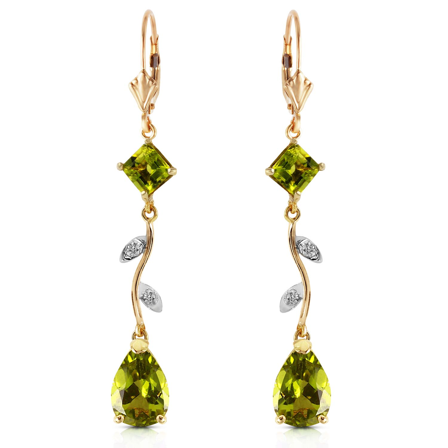 Peridot and Diamond Vine Branch Drop Earrings 3.95ctw in 9ct Gold