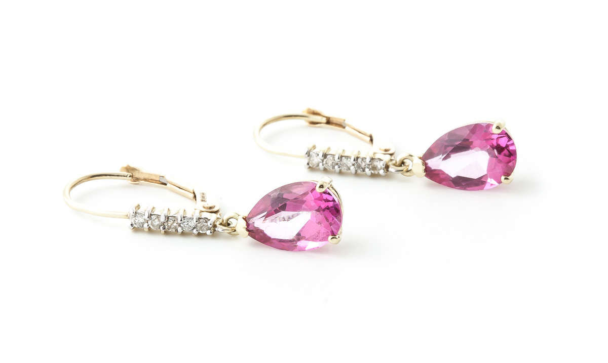 Pink Topaz and Diamond Belle Drop Earrings 3.0ctw in 9ct Gold