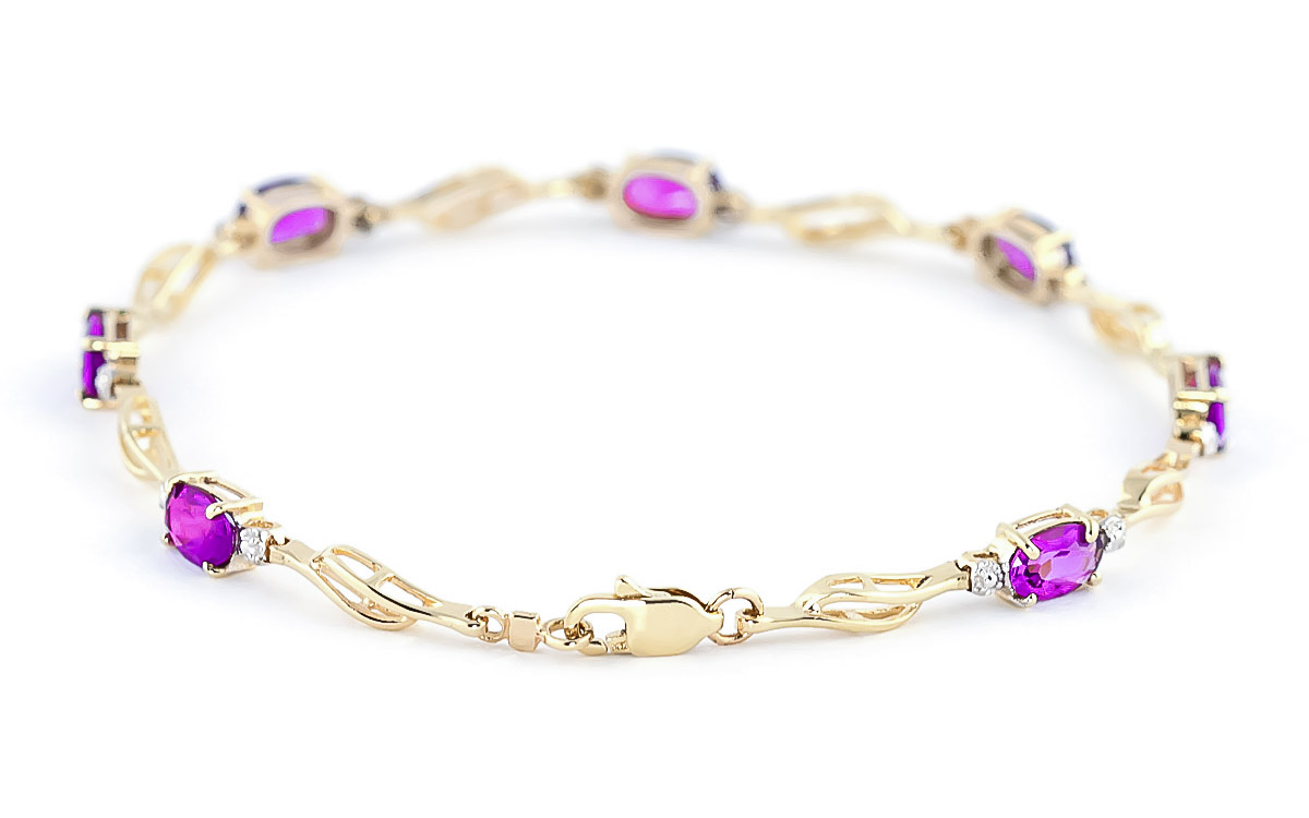 Pink Topaz and Diamond Classic Tennis Bracelet 3.38ctw in 9ct Gold