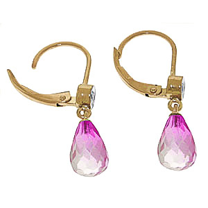 Pink Topaz and Diamond Illusion Drop Earrings 4.5ctw in 9ct Gold