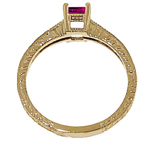 Pink Topaz and Diamond Shoulder Set Ring 0.5ct in 14K Gold