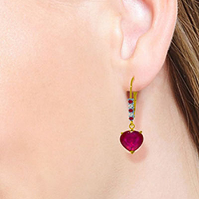 Ruby and Diamond Drop Earrings 2.8ctw in 9ct Gold