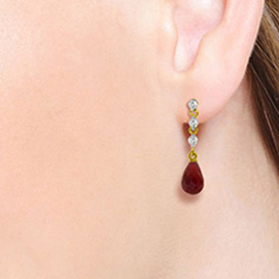 Ruby and Diamond Chain Droplet Earrings 6.6ctw in 14K Gold