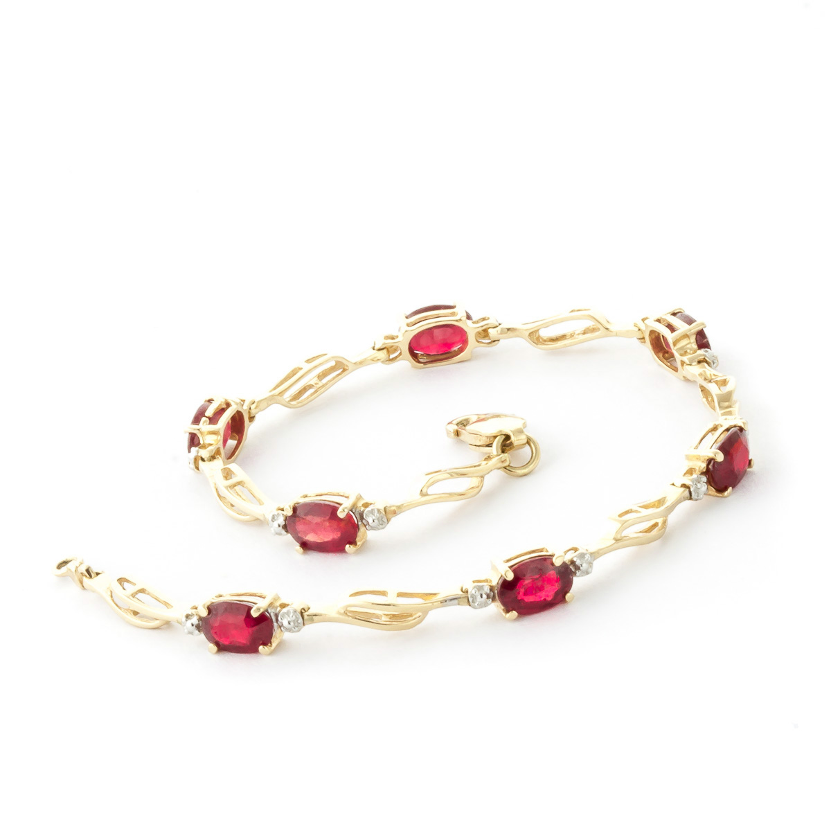 Ruby and Diamond Classic Tennis Bracelet 4.2ctw in 9ct Gold