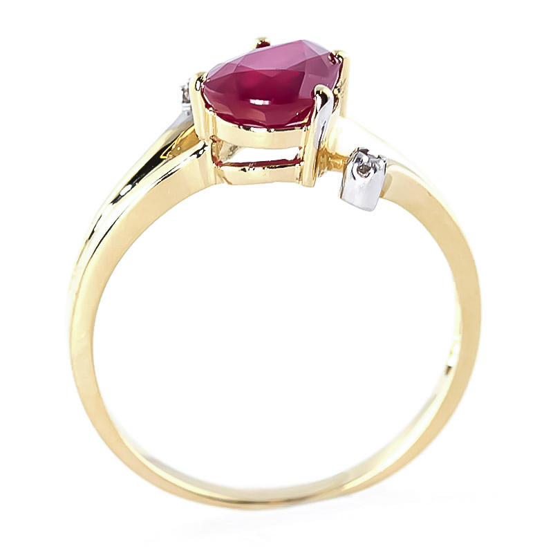 Ruby and Diamond Flank Ring 1.5ct in 14K Gold