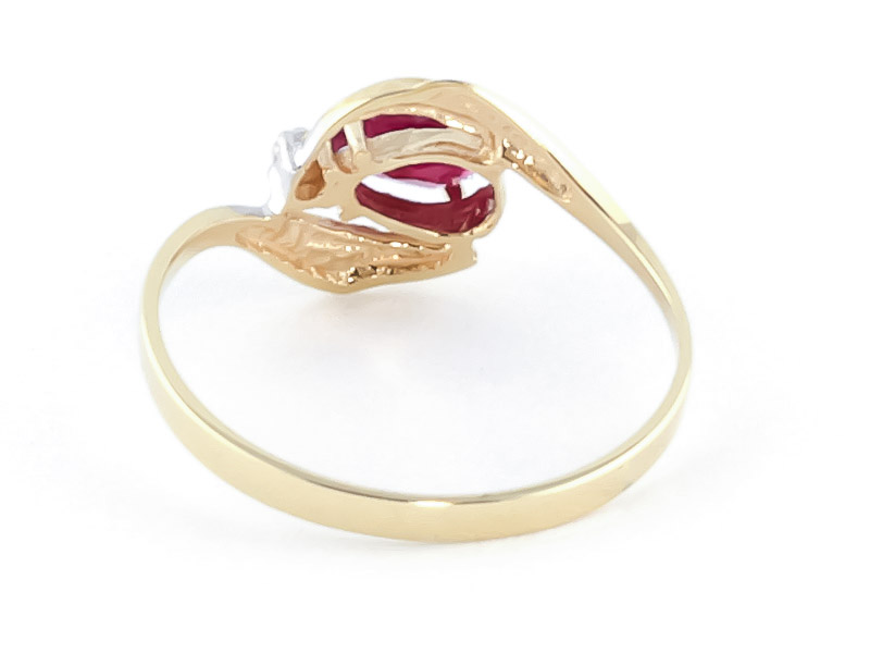 Ruby and Diamond Flare Ring 0.5ct in 14K Gold