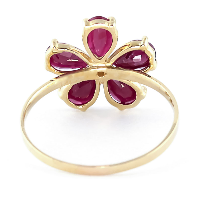 Ruby and Diamond Five Petal Ring 2.2ctw in 9ct Gold