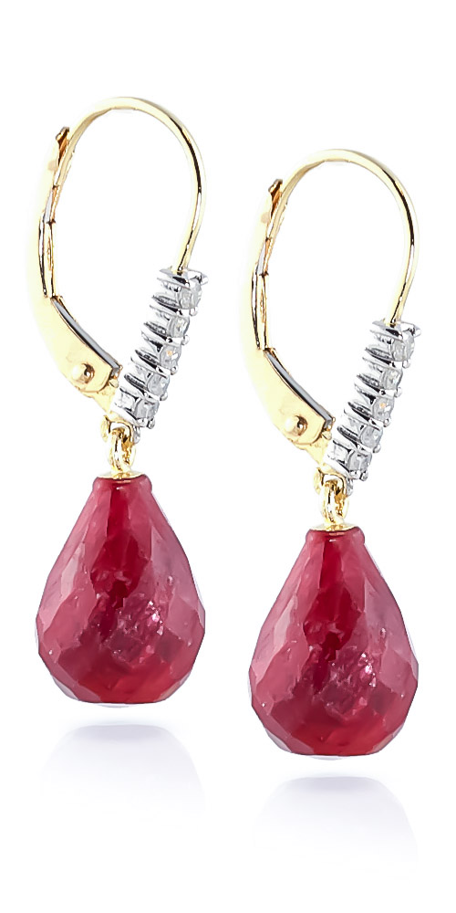 Ruby and Diamond Stem Drop Earrings 8.8ctw in 9ct Gold