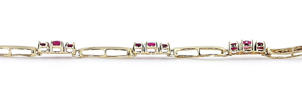 Ruby and Diamond Trinity Tennis Bracelet 1.75ctw in 14K Gold