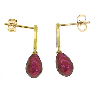 Ruby and Diamond Droplet Earrings 6.6ctw in 9ct Gold