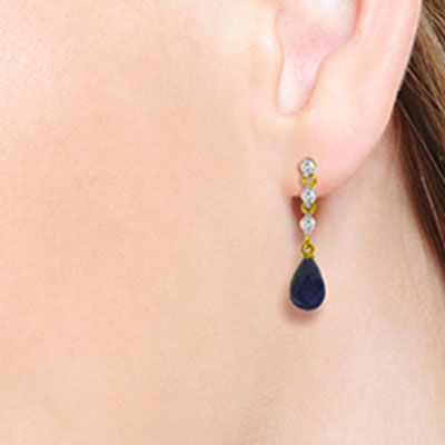 Sapphire and Diamond Chain Droplet Earrings 6.6ctw in 14K Gold
