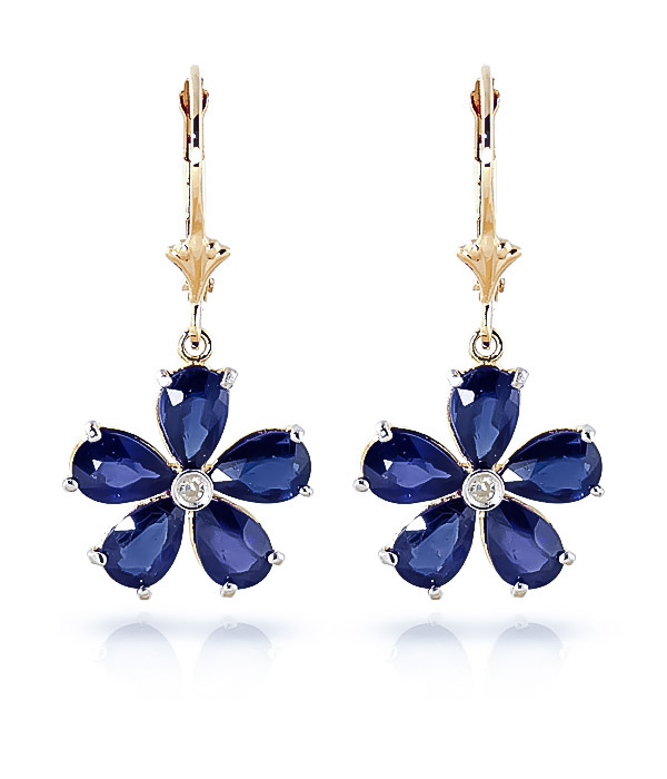 Sapphire and Diamond Flower Petal Drop Earrings 4.4ctw in 9ct Gold