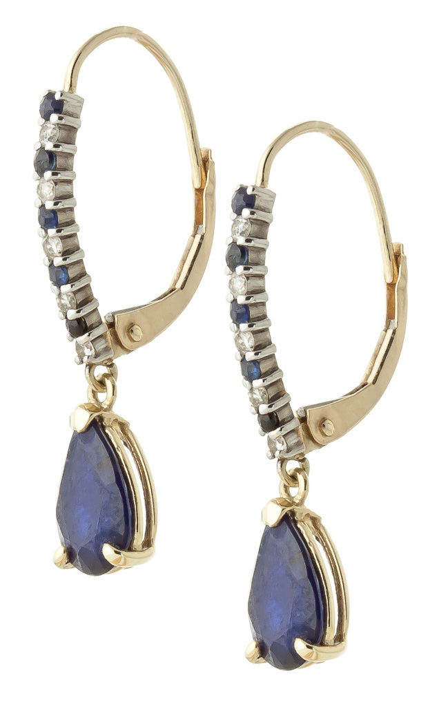 Sapphire and Diamond Laced Stem Drop Earrings 3.2ctw in 9ct Gold