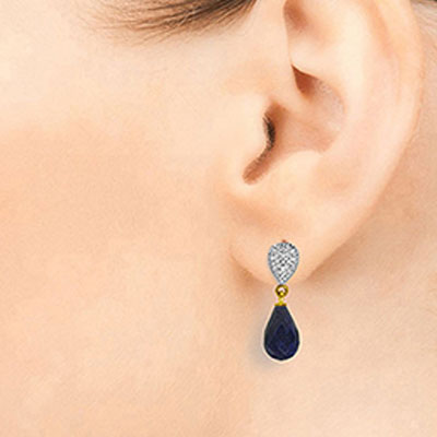 Sapphire and Diamond Droplet Earrings 6.6ctw in 14K Gold