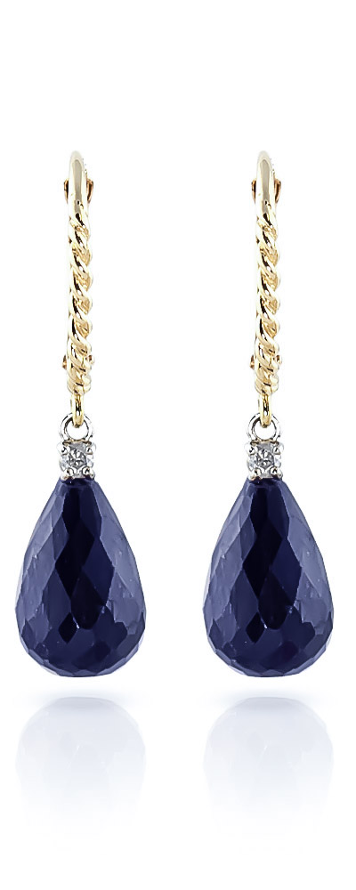 Sapphire and Diamond Stem Drop Earrings 17.6ctw in 9ct Gold