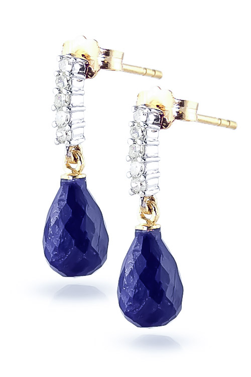 Sapphire and Diamond Stem Droplet Earrings 6.6ctw in 14K Gold