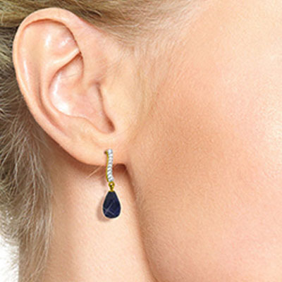 Sapphire and Diamond Droplet Earrings 6.6ctw in 9ct Gold