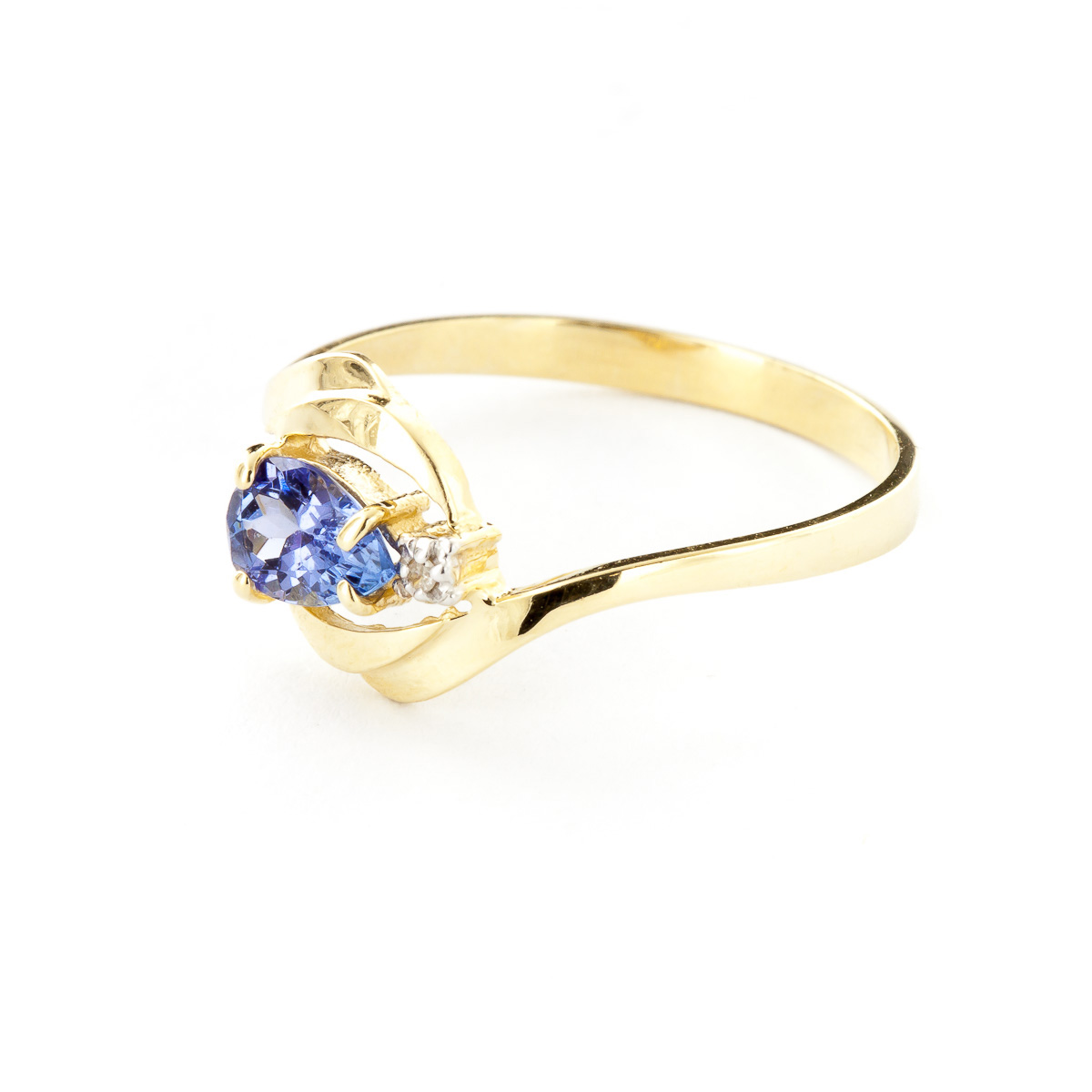 Tanzanite and Diamond Flare Ring 0.5ct in 14K Gold