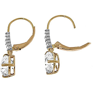 White Topaz and Diamond Belle Drop Earrings 3.0ctw in 9ct Gold