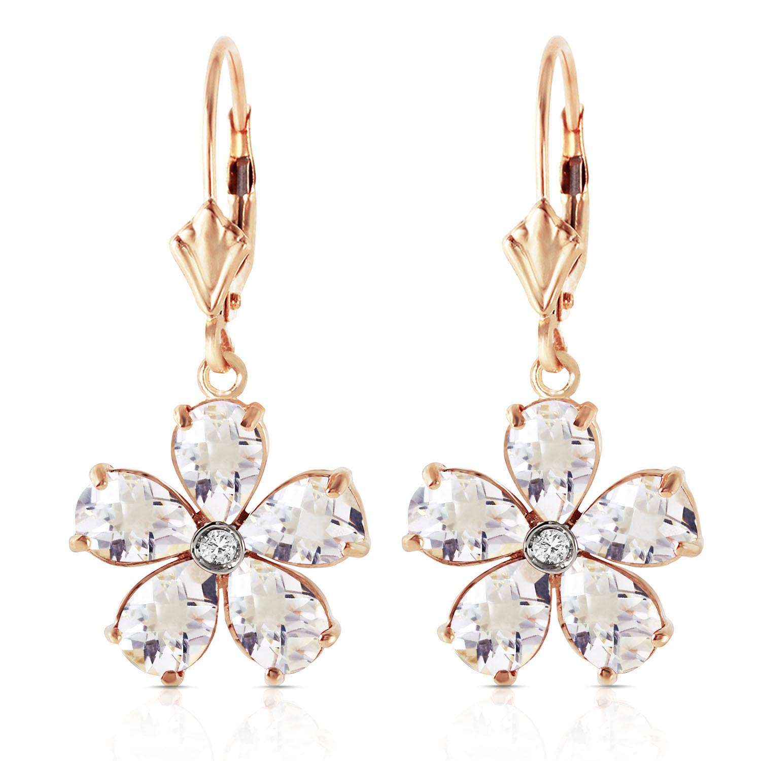 White Topaz and Diamond Flower Petal Drop Earrings 4.4ctw in 9ct Gold