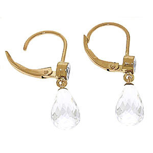 White Topaz and Diamond Illusion Drop Earrings 4.5ctw in 9ct Gold