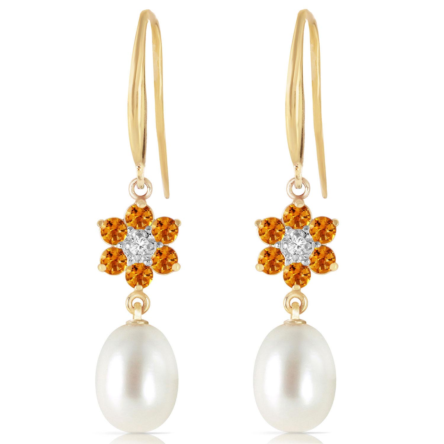 Pearl, Diamond and Citrine Daisy Chain Drop Earrings 8.95ctw in 14K Gold